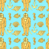 Sketch vintage diving suit and sea creatures Royalty Free Stock Photography