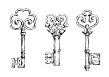 Sketch of vintage keys with curly elements. Vintage decorative keys with ornamental bows, adorned by swirls and forged elements. Sketch style Royalty Free Stock Images