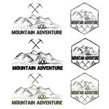 Sketch vintage labels mountain adventure. Set of sketch vintage labels mountain adventure Royalty Free Stock Image