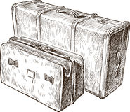 Sketch of the vintage suitcases Royalty Free Stock Images