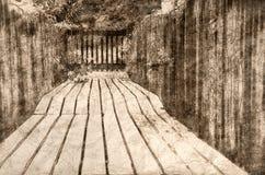 Sketch of Walking Along Summer's Wooden Garden Walkway stock illustration