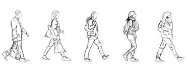 Sketch walking people Royalty Free Stock Image