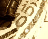 Sketch with wallet and Euros. Sepia toned Royalty Free Stock Photography