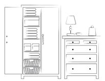 Sketch of wardrobe and chest of drawers. Handdrawn outline sketch of wardrobe showing the interior design and chest of drawers on a white background royalty free illustration