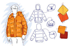 Young man in warm jacket Stock Images