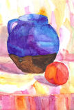 Sketch watercolor drawing still life Royalty Free Stock Photography