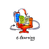 Sketch watercolor icon of e-learning, distance education and onl Stock Image