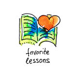 Sketch watercolor icon of favorite lessons, distance education a Stock Photo