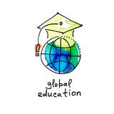 Sketch watercolor icon of global education, distance online lear Royalty Free Stock Photo