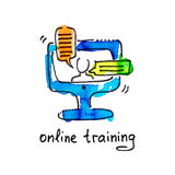 Sketch watercolor icon of online training, distance education an Royalty Free Stock Photography