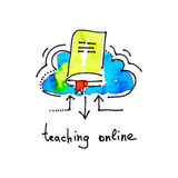 Sketch watercolor icon of teaching online, distance education an. D learning concept vector illustration Royalty Free Stock Image