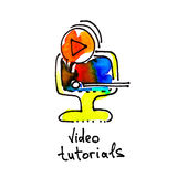 Sketch watercolor icon of video tutorials, distance education. And online learning concept vector illustration Royalty Free Stock Image