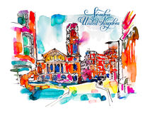 Sketch watercolor painting of London street with church and hand Stock Images