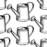 Sketch watering can, vector  seamless pattern Stock Photos
