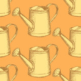 Sketch watering can, vector  seamless pattern Royalty Free Stock Images