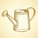Sketch watering can, vector vintage background Stock Photo