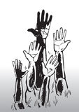 Sketch of waving hands. Black and white sketch of a group of raised hands, waving Stock Photography