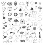 Sketch of web design icons hand drawn with pen Royalty Free Stock Photos