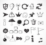 Sketch of web design icons Royalty Free Stock Photos