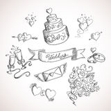 Sketch of wedding design elements Royalty Free Stock Image