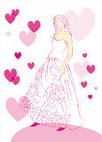 Sketch wedding dress royalty free stock images