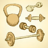 Sketch weight set in vintage style Royalty Free Stock Photos