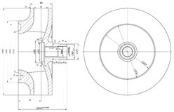 Sketch of wheel with section and hatching Royalty Free Stock Photography