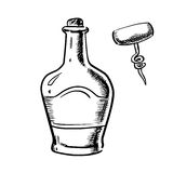 Sketch of whiskey with corkscrew Stock Photography