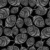 Sketch white leaves seamless pattern stock illustration