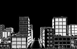 Sketch of white street on black backgound Vector Stock Images