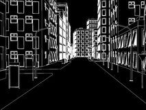 Sketch of white street on black  Vector Royalty Free Stock Photography