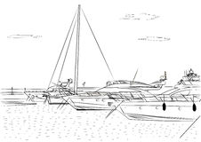 Sketch of white yachts in the port waiting. On the sea is calm. Vector Royalty Free Stock Photography
