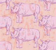 Sketch wild rhino, vector seamless pattern Stock Images