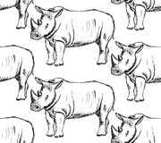 Sketch wild rhino, vector seamless pattern Royalty Free Stock Images