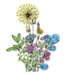 Sketch of the wildflowers on a white background. Hand drawn illustration Stock Image