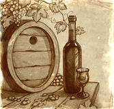 Sketch of wine bottle Royalty Free Stock Images