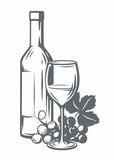 Sketch of wine Stock Images