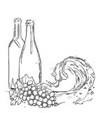 Sketch of wine bottles with grapes and liquid wave. Vector isolated illustration.  Stock Images