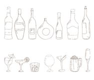 Sketch of wine bottles. Tumblers set for alcohol drinks and coctails. Sketch of wine bottles.Wine, martini, cognac, cherry, beer, champagne, grappa glasses Stock Image