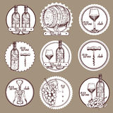 Sketch wine set of logos Royalty Free Stock Photos