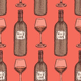 Sketch wine set in vintage style Royalty Free Stock Image
