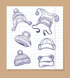 Sketch winter hats set Royalty Free Stock Photography