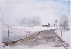 Watercolor sketch of winter landscape. Stock Image