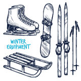 Sketch Winter Sport Objects Royalty Free Stock Photography