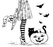 Sketch of Witch with wizard hat in hand in halloween costume, black cat and pumpkin. Black and white. Vector illustration royalty free illustration