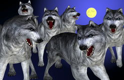 Sketch of wolves and full moon. Colorful drawing of wolves and full moon stock illustration