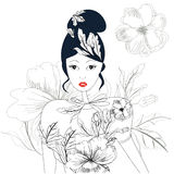 Sketch with woman. And floral element Royalty Free Stock Photos