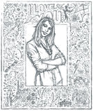 Sketch Woman With Crossed Hands Against Love Story Background 04 royalty free illustration