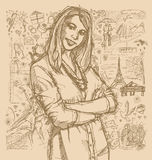 Sketch Woman With Crossed Hands Against Love Story Background royalty free illustration