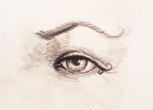 Sketch of woman eye with eyebrow, drawing on abstract background. Royalty Free Stock Photography